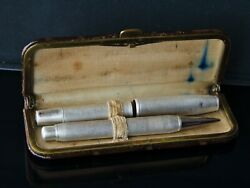 Vintage Sterling Silver Fountain Pen And Pencil Set In Original Box