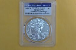 2019-w 1 1oz Burnished Silver Eagle Sp70 Pcgs First Day Of Issue