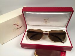 VINTAGE CARTIER AMBOISE PRECIOUS WOOD & GOLD EDITION 56MM SUNGLASSES FRANCE