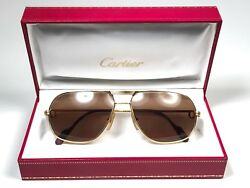 NEW VINTAGE CARTIER TANK 59 12 SUNGLASSES 18K HEAVY GOLD PLATED FRANCE