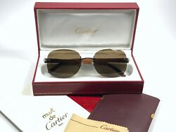 NEW VINTAGE CARTIER SERRANO PRECIOUS WOOD C DECOR 18K PLATINE SUNGLASSES FRANCE