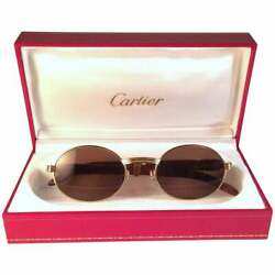 VINTAGE CARTIER GIVERNY GOLD & WOOD RARE SIZE 4720 SMALLEST SUNGLASSES 18K GOLD
