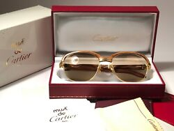 VINTAGE CARTIER MALMAISON BUBINGA PRECIOUS LIGHT WOOD 56MM SUNGLASSES FRANCE 18K
