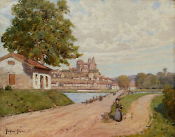 Jacques Roger Simon French Oil Painting Landscape View Alsace German Old Brisach