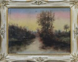 American School Landscape By Campbell Oil On Canvas With Wood Frame
