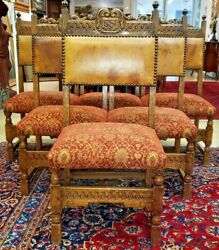 Set Of 6 Antique Walnut Dining Chairs W Leather Back Italian Late 1800's