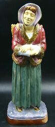 Victorian Brownfield Majolica Large Figure Peasant Woman With Wicker Basket 1870