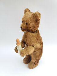 Vintage Old Rare 60and039s Wind-up Plush Russian Soviet Ussr Toy Teddy Bear