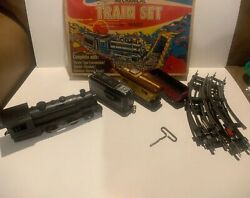 Vintage Marx 528 Mechanical Train Set Toy In Box Complete With Key - Works
