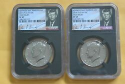 2014 Pandd Clad 50c High Relief Kennedy 50th Anniv Set Ngc Sp67/sp67 Retro Holders