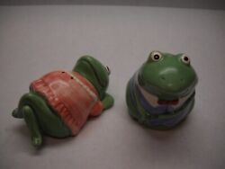 Mary Ann Baker Salt And Pepper Shakers Frogs Man Blue Suit Bowtie Woman Pink
