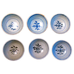 Antique Vietnamese Hoi An Hoard Set Of Six Blue And White Ceramic Bowls