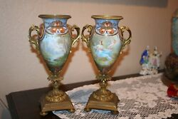 Stunning Pair Of Antique French Signed Collet Hand Painted Porcelain Urns
