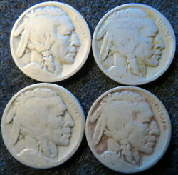 Three 3 1918 D And One 1 1918 S Buffalo Nickels 2nd Win Ships Free 2912