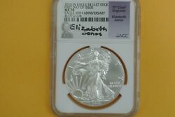 2016 W Burnished Silver Eagle Ngc Ms70 30th Anniversary Lettered Edge E. Jones