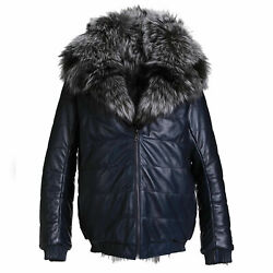 Men's Hooded Reversible Silver Fox Fur And Blue Calf Leather Bomber Coat