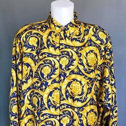 Versace Classic V2 Blue And Gold Silk Shirt Barocco Print Size It Xl