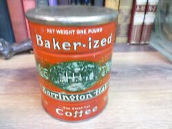 Baker-ized Coffee Can With Original Lid Store Tin Barrington Hall 1 Lb Vintage