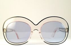 VINTAGE PIERRE MARLY SOURCILLA TRANSLUCENT BLUE LENSES 1960'S MADE IN FRANCE