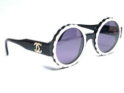 VINTAGE RARE 1990'S CHANEL CAMELIA SPRING  SUMMER BLACK & WHITE FRAME ITALY