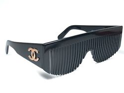 NEW VINTAGE RARE CHANEL 1990'S RUNWAY COMB BLACK FRAME MADE IN ITALY SUNGLASSES