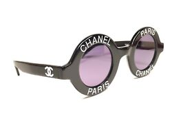 VINTAGE RARE CHANEL 1990'S RUNWAY ROUND BLACK WHITE LETTERS FRAME MADE IN ITALY