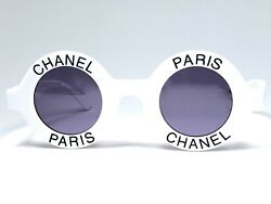 VINTAGE RARE CHANEL ROUND WHITE BLACK LETTERS FRAME SUNGLASSES ITALY 1990'S