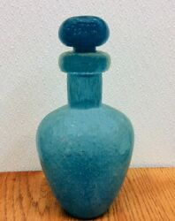 Vintage Mcm Large Solid Art Glass Hand Blown Blue Glass Decanters Figurine