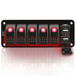 6 Gang Toggle Rocker Switch Panel With Usb For Car Boat Marine Rv Truck Red Led