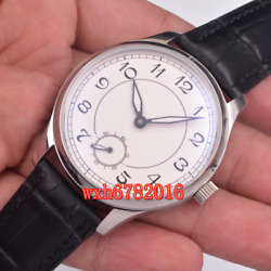 44mm Parnis White Digital Dial Seagull Hand Winding 6498 Mechanical Mens Watch