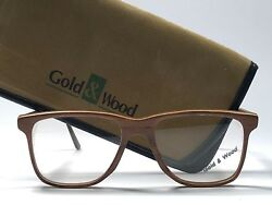 New Vintage Gold And Wood Squared Frame Reading Rx Prescription 1980and039s Paris