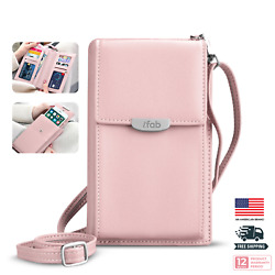 Women Small Crossbody Bag ifab Cell Phone Purse Wallet wCredit Card Slots Pink $14.99