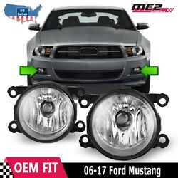Fits 06-17 Ford Mustang Pair Factory Bumper Replacement Fog Lights Clear Lens