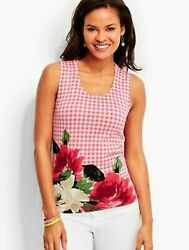 Nwt Talbots Pink Gingham And Roses Jersey Knit Charming Shell Sleeveless Op 1x