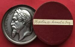 Egypt Napoleon Iii Silvered Bronze Medal Construction Of Suez Canal 1864 Rare