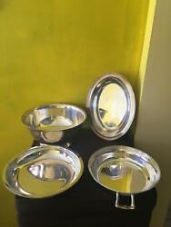 Vintage Set Of 4 Silver Plate Items 3 Bowls Handled 1 Oval Serving Dish No Marks
