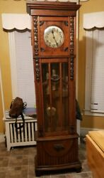1920's Fredrich Mauthe Germany Craftsman Oak Grandfather Hall Clock