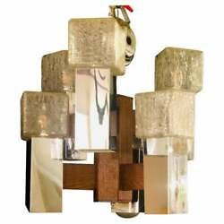 Art Deco Style Glass And Burl Wood Chandelier With 12 Lights And 2 Tier 101-4160