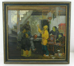 Henry J.soulen Original Painting On Board W/chinese Figures 22x 20.5 Framed