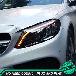 For Benz W205 Headlight Assemblies 2014-2019 Hid Xenon Beam Projector Led Drl