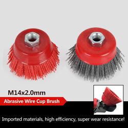 3 M14 Cup Nylon Abrasive Brush Wheel Poly Grinding Tool For Grinder 12500rpm