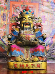 Tibet Tibetan Buddhism Copper Gold Plating Coloured Drawing God Of Wealth Statue