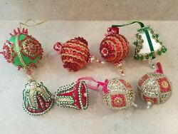 Lot Of 8 Vintage Handmade Beaded Sequined Christmas Ornament - Round And Bells