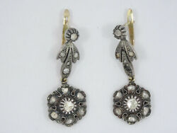 Antique C. 1870 Victorian Solid 15k Gold And Sterling Diamond Dangle Drop Earrings
