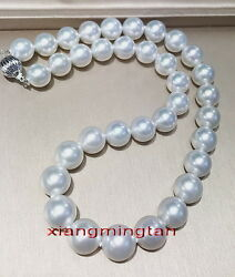 Australia Top 1712-15mm Real Natural South Sea Round White Pearl Necklace 14k