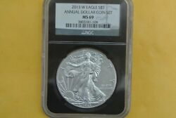 2013-w Burnished Silver Eagle Ngc Ms69 Unc 2013 Annual Dollar Set - Spotted