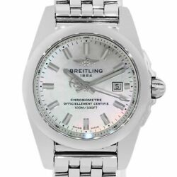 Breitling Galactic W72348 Stainless Steel Mother Of Pearl Dial Ladies Watch