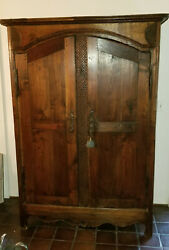 Fancy Carved Decor Antique 19c French Oak Marriage Armoire
