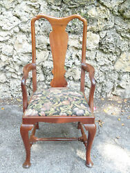 Antique 19c. Carved Walnut Large Queen Anne Armchair