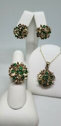 Vintage 18k Yellow Gold Emerald Earrings Pendant Ring Set Size 6 30 Chain